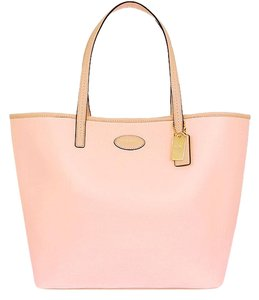 Coach Pink Large Leather Laptop Tote in Peach