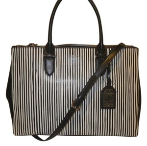 Ralph Lauren Tote in Black with black and white pin stripes