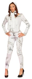 Noneillah Jumpsuit Print Sporty Fitted White/ black Leggings