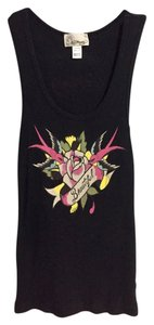 Ed Hardy Casual Ribbed Logo Flower Birds Top Black