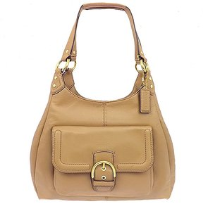 Coach Tan Beige Leather Compartments Hobo Bag