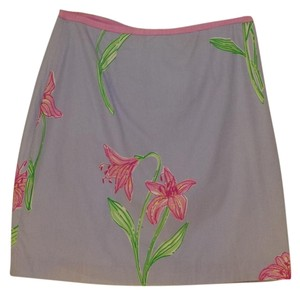 Lilly Pulitzer Cotton Cruise Summer Floral Mini Skirt periwinkle
