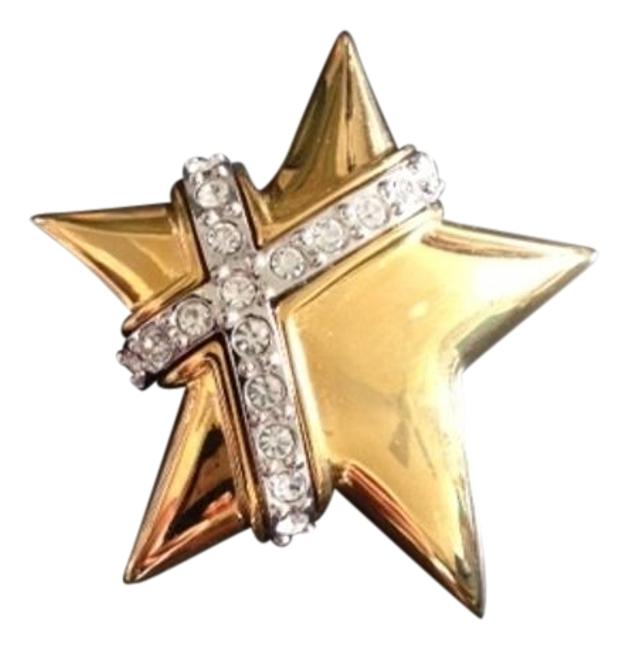 Item - Gold Vintage 1990's Tone Clear Crystals Star Brooch