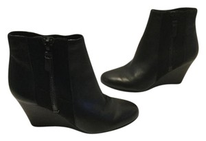 Via Spiga Gussets Black leather stretch fabric wedge ankle E37.5 Boots
