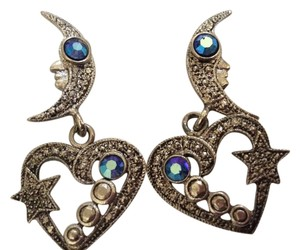 A Pair of Silvertone Marcisite Pierced Earrings Heart and Moon Shapes
