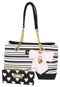Betsey Johnson Bone/black Satchel in black/bone stripe