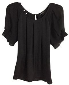 Express Bubble Button Pleated Polyester Sheer Top Black