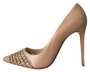 Christian Louboutin Bareta Barretta Spiked Pigalle Follies So Kate Nude Pumps