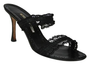 Manolo Blahnik Lace Ribbon Strappy BLACK Sandals