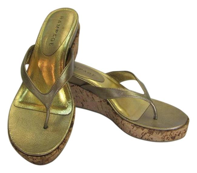 Item - Gold New M Padded Footbed Excellent Condition Wedges Size US 9 Regular (M, B)