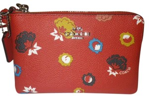 Coach Wristlet in Red with flowers