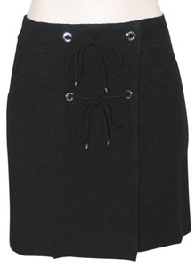 Chanel Laces Grommets Slim Skirt BLACK