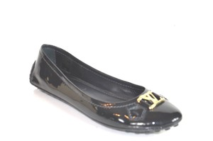 Louis Vuitton Patent Leather Gold Tone Logo Black Flats