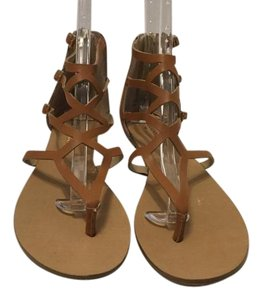 Julianne Hough for Sole Society Style New brown leather gladiator thong Sandals