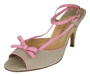 Chanel Ankle Straps Bows PINK AND KHAKI BEIGE Sandals