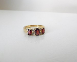 Technibond Technibond(R) 3-Stone Garnet and Diamond Accent Ring 8