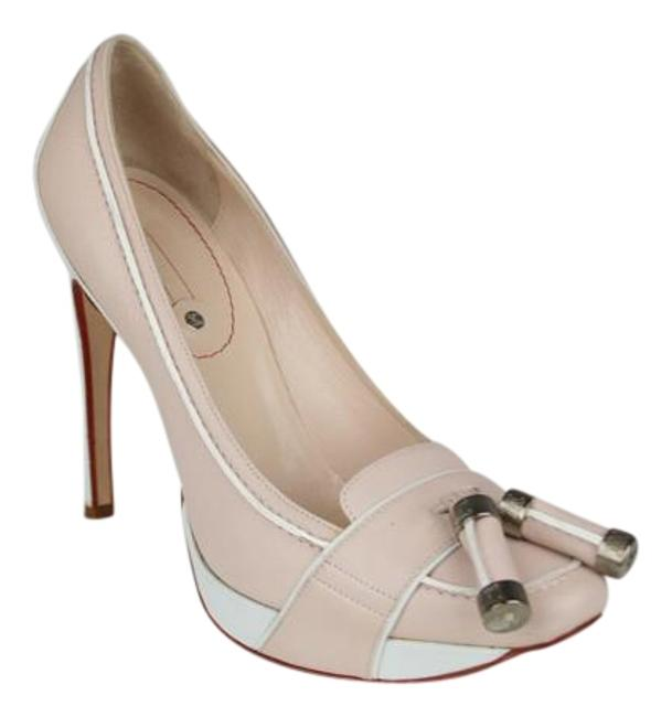 Item - Peach Beige and White Two Tone with Silver Logo Tassels Pumps Size US 9.5 Regular (M, B)