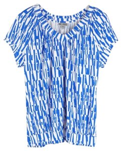 JM Collection Top Blue White