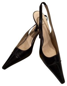 Joan & David Leather Comfortable Office Pointed Toe Slingback Black Pumps