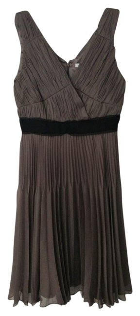 Max and Cleo Sleeveless Pleated Taupe Dress