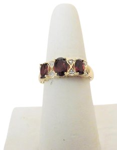 Technibond Technibond(R) 3-Stone Garnet and Diamond Accent Ring 9