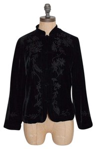 Anthropologie Night Out Evening Velvet Embroidered Odille BLACK Jacket