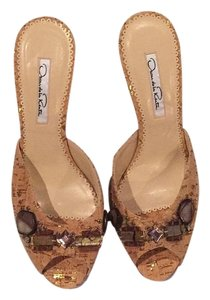 Oscar de la Renta Cork / tan Sandals