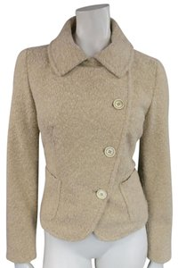 Max Mara Tweed Oatmeal Textured Asymmetrical Fall Beige Jacket