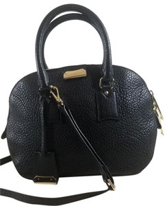 Burberry Orchard Leather Luggage Tag Lends Adjustable Strap Satchel in Black