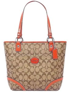 Coach Brown Orange Medium Tan Tote in Khaki Persimmon