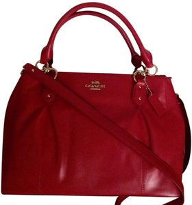 Coach Leather Shoulder Satchel in Red