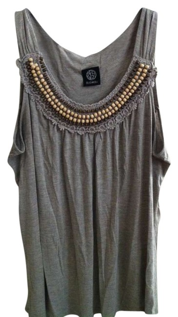 Bobeau Dry Clean Only Beaded Feminine Versatile Flowy Top Gray