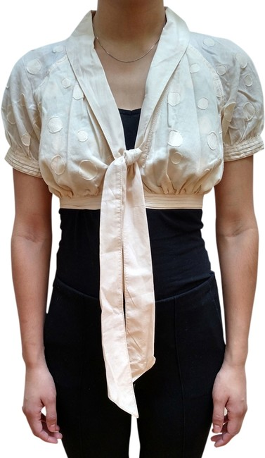 Catherine Malandrino Cotton Shrug Buttons Bow Pleated Polka Dot Top cream