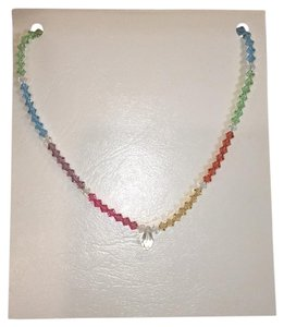 Other Artisan Crystal Teardrop Pendant Multicolor Beaded Necklace.