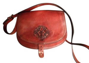 Frye Crossbody Red Saddle Leather Satchel in Burnt red