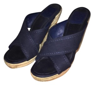 Tory Burch Espadrille Canvas Navy / Natural Wedges