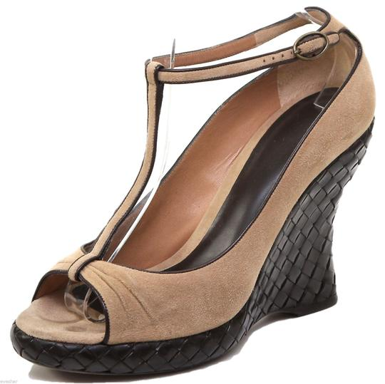 Bottega Veneta Tan, Brown Wedges