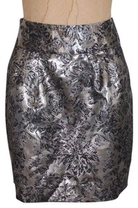 Silence + Noise Jacquard Metallic Evening Skirt SILVER