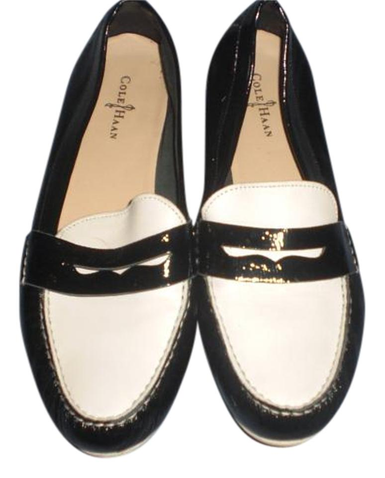032a8f5ef09 Cole Haan Black White Womens Penny Loafers Leather Slip On Casual ...