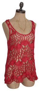 Anthropologie Open Knit Crochet Top RED