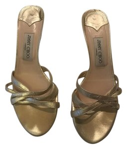 Jimmy Choo Strappy Sandals Gold Pumps