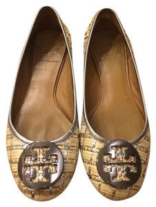 Tory Burch Straw Metallic Loafers Natural Tan and Silver Flats