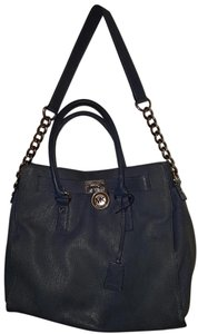 Michael Kors Leather Hamilton Satchel in Navy blue