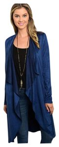 Other Suede Trench Waterfall Royal Tie Waist Cardigan