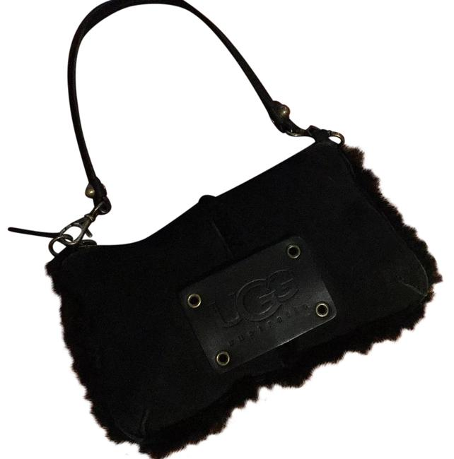 Item - Black Suede/Shearling Wristlet