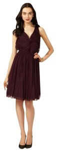 Robert Rodriguez Cocktail Open Back Chiffon Bow Pleated Dress