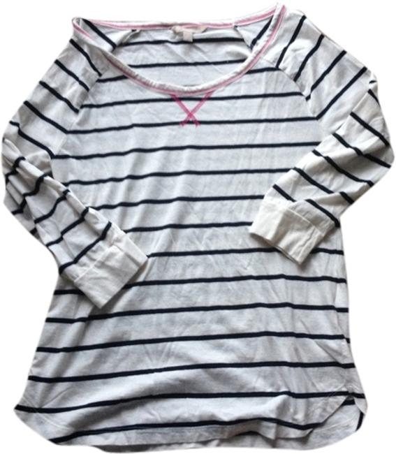 Item - Cream Black Striped Tee Shirt Size 4 (S)