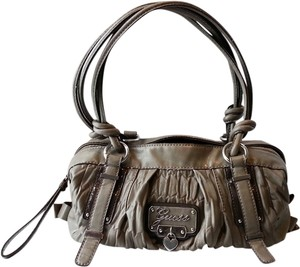 Guess Gray Taupe Giada Gathered Satchel in Gray/Taupe