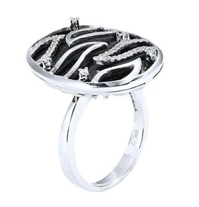 18K White Gold Onyx Diamonds Ring