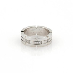 Cartier Cartier Tank Franchaise Diamonds 18k White Gold Band Ring Eu 49-us Wcert